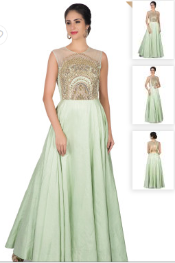 Light Pista Green Gown in Raw Silk with French Knot Embroidered Bodice Gown