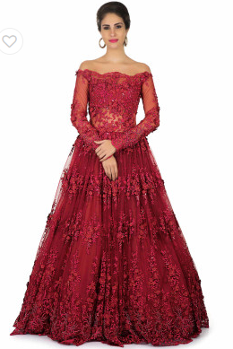 Maroon off-shoulder gown with intricate embroidery