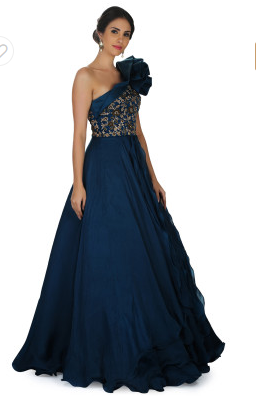 One Shoulder Ballroom Gown in Scuba Silk with Fancy Flower