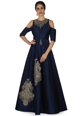 Navy Blue Gown in Cold Shoulder with Flower