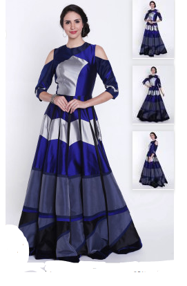 Multicolour gown with Cold Shoulder Gown