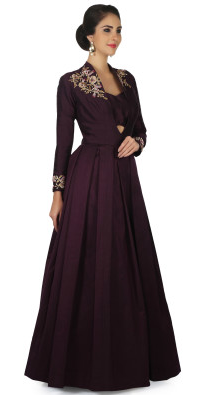 Burgundy Gown with Embroidered Shoulder in Zari Embroidery
