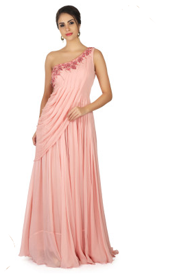 Prism Pink Gown with Resham Embroidered Neckline and Cowl Drape Gown