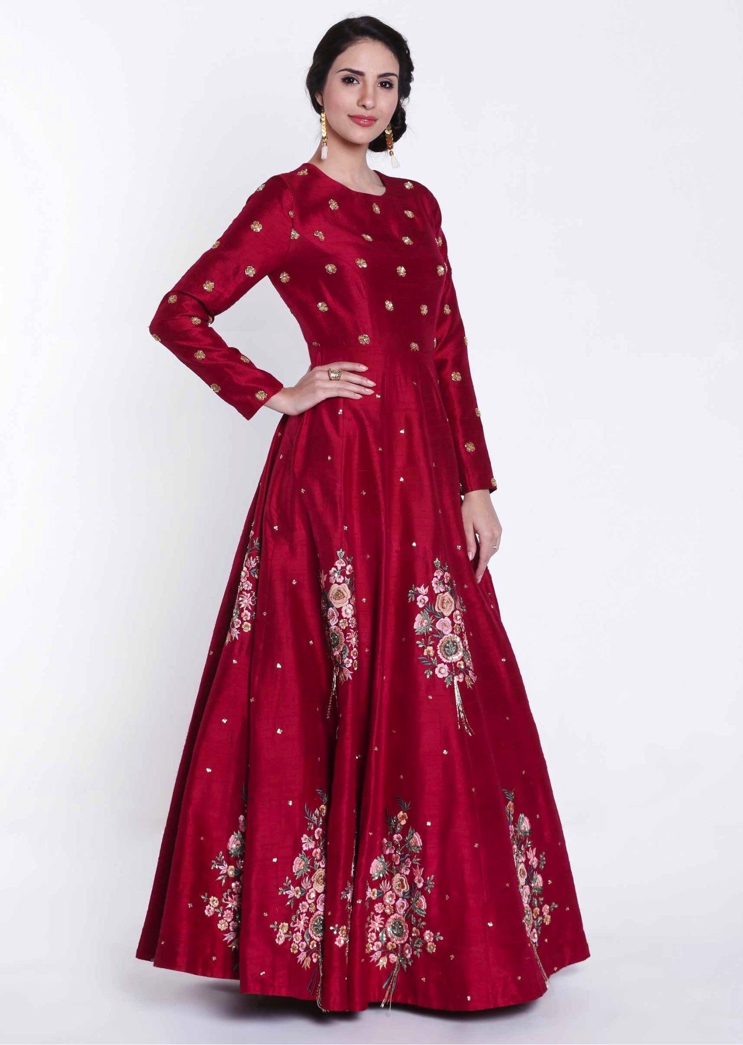 Scarlet Red Anarkali Gown in Resham and Sequin Embroidered Butti_compressed