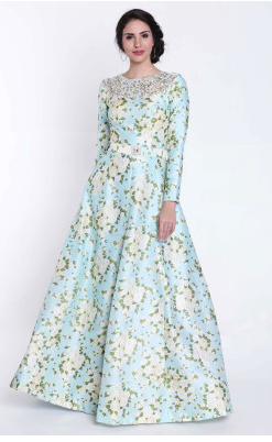 Turq Blue Printed Suit featuring with Embroidered Neckline Gown